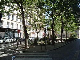 Place Estrapade, the 5th arrondissement of Paris, located at the junction of the road from the street with Estrapade Lhomond and Rue des Fosses Saint-Jacques marking the boundary of the district of Val-de-Grâce and the Sorbonne. (CW12)