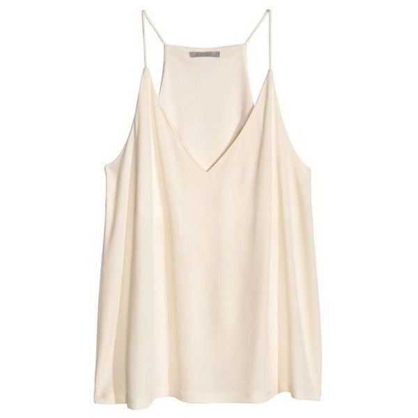 top white natural H&M V-neck Camisole Tank ❤ liked on Polyvore featuring tops, v neck tank, cami tank tops, white camisole, white singlet and white v neck cami