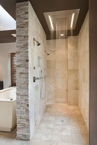 A walk-in shower means NO GLASS TO CLEAN. | 43 Insanely Cool Remodeling Ideas For Your Home