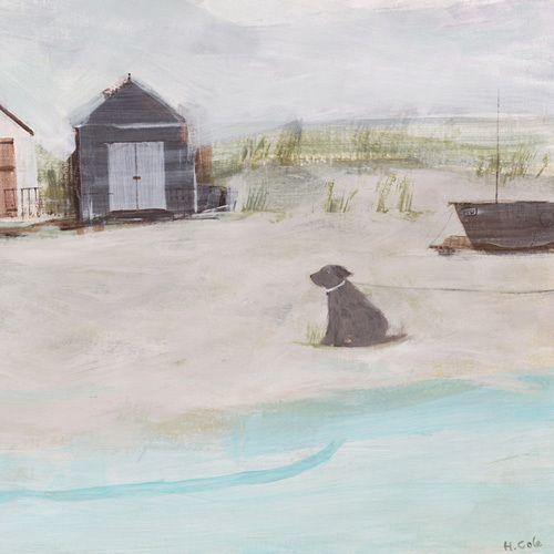 Beach & Hut & Dog Art Print by Hannah Cole at King & McGaw