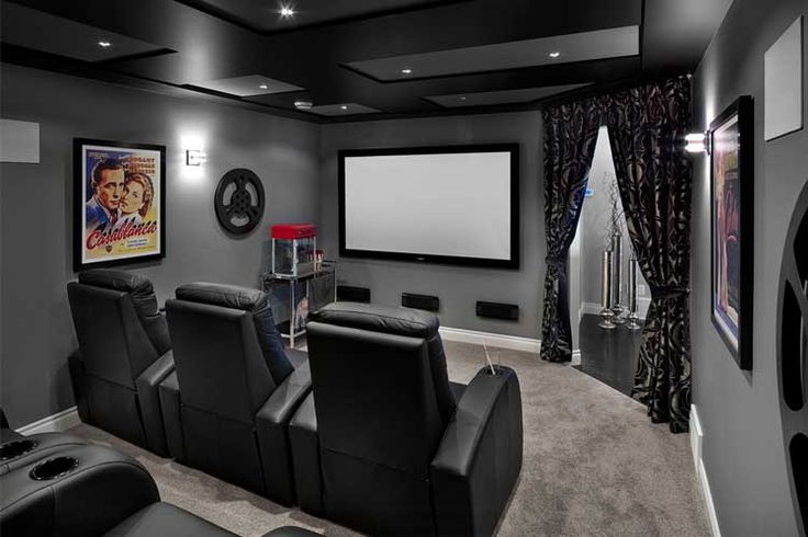 Casas decoradas con una sala de cine