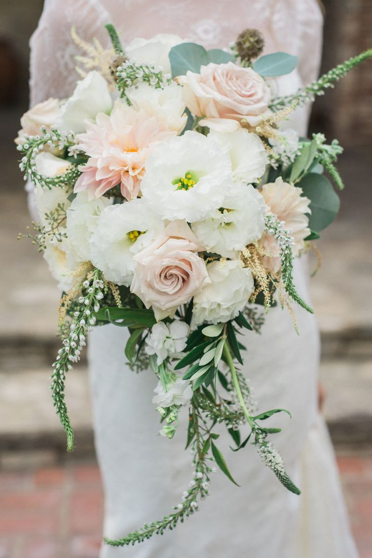 Wedding inspiration for a whimsical bridal bouquet - white, green and blush; Image by Anya Kernes Photography http://www.anyakernesphotography.com/