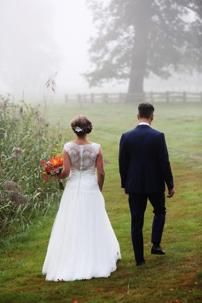 Bruidspaar in de mist