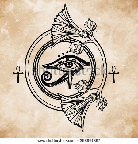 Hand-drawn vintage tattoo art. Vector illustration, tribal symbol of pharaoh, element of ancient Egypt design in linear style. The eye of god of sun Ra Horus with lotus and ankh. Isolated .Aged paper