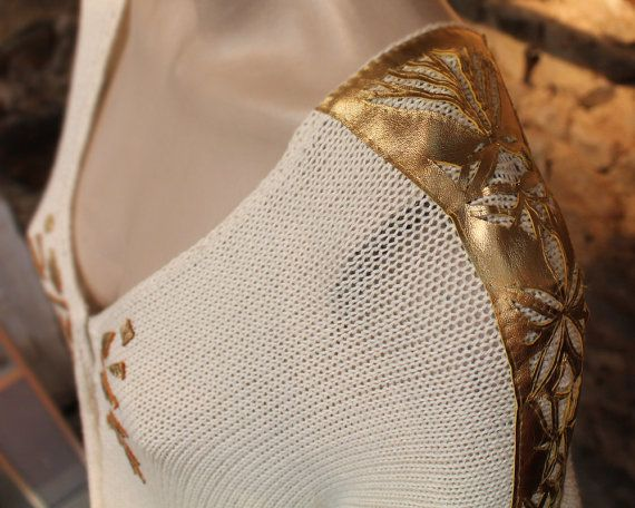 Luxury poncho cream poncho with gold leather by quirogaquiroga