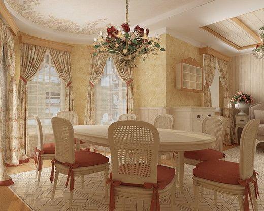 Дизайн интерьера коттеджа в стиле Прованс. Гостиная