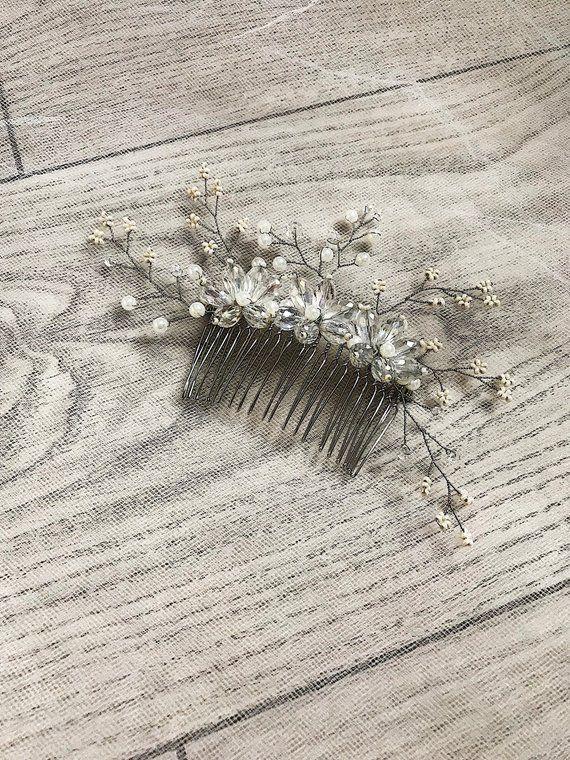 Crystal Wedding Hair Comb Bridal Clear Headpiece Hair Piece Bridesmaid Simple Bridal Accessories Flo