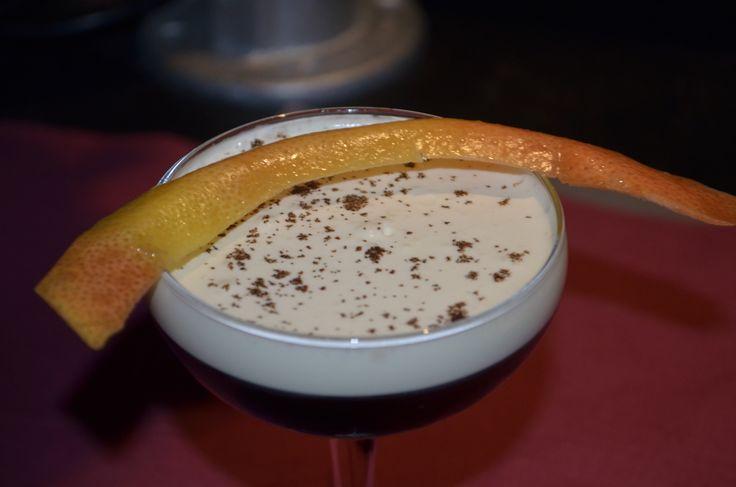 Sloppy Kasper - Bourbon, Liquor 43, and Mozart Black...topped with cream.