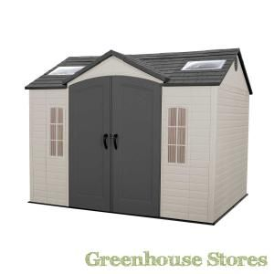 Lifetime 10x8 Plastic Shed from Greenhouse Stores. https://www.greenhousestores.co.uk/Plastic-Sheds/