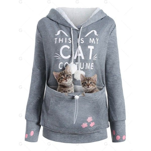 Gray XL Plus Size Cat Holder Pouch Pocket Hoodie (23 BAM) ❤ liked on Polyvore featuring tops, hoodies, hooded sweatshirt, grey hooded sweatshirt, gray hooded sweatshirt, women's plus size hoodies and plus size hoodie