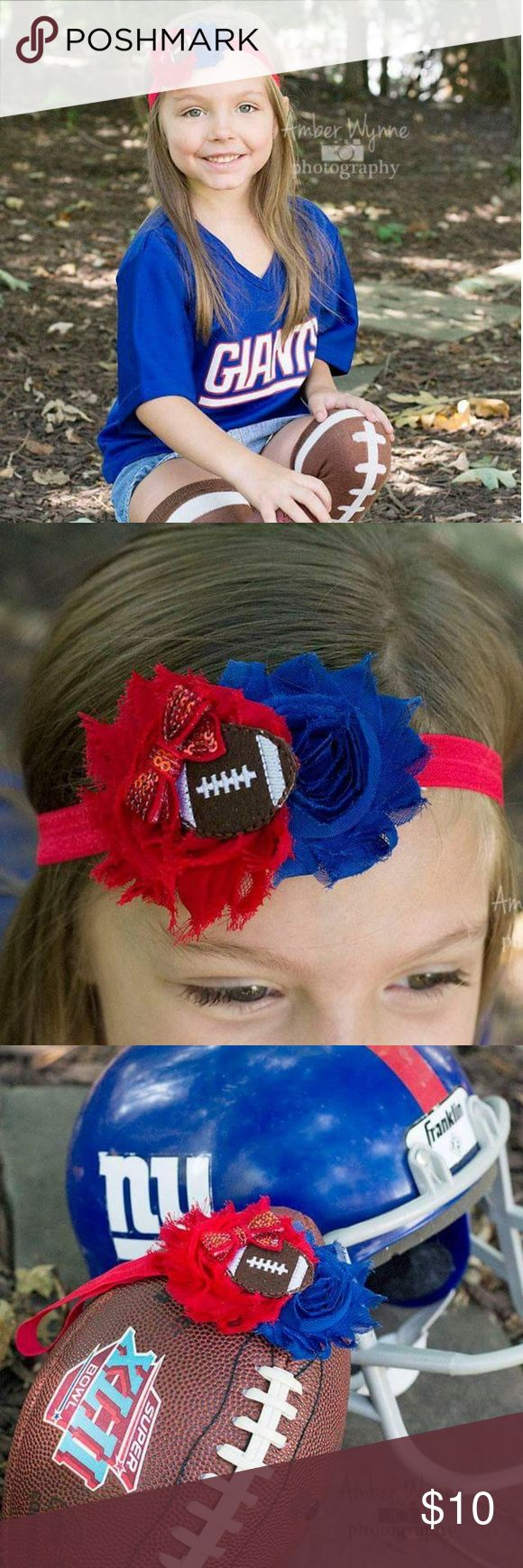 Girls Football headband. Blue and red It's football time!!!  Adorable little girls football headband in red and blue. We are Giants fans, but could be used for other teams like Patriots, Bills or big brothers school team!  Worn only once for modeling so like new!!!  Handmade from online boutique. Accessories