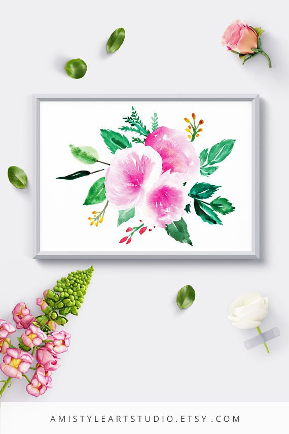 Wall Art Printable - with watercolor peonies and leaves by Amistyle Art  Studio on Etsy