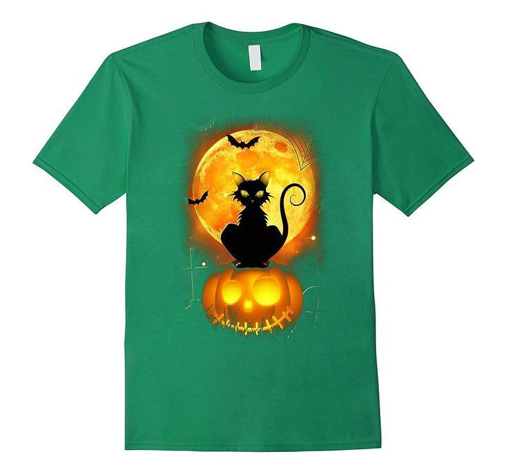 Black Cat Pumpkin Moon Halloween T-Shirt