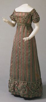 Woman's Dress, Belt and Sleeves    Made in Philadelphia, Pennsylvania, United States  c. 1823
