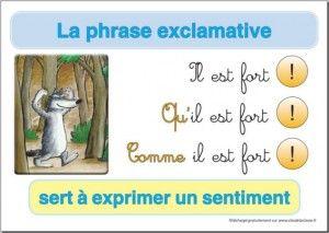 Affiche types de phrase : la phrase exclamative