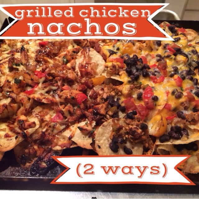 delicious and easy grilled chicken nachos.  shows how to make bbq chicken nachos as well as chicken and black bean nachos, but you could make them so many different ways! awesome recipe!