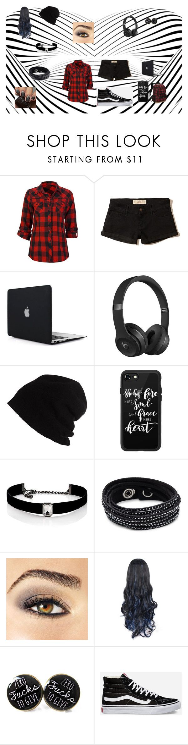 I Like Black...And Red by luxempiress on Polyvore featuring Full Tilt, Hollister Co., Vans, Eastsport, Swarovski, Kenneth Jay Lane, SCHA, Casetify, Beats by Dr. Dre and Avon