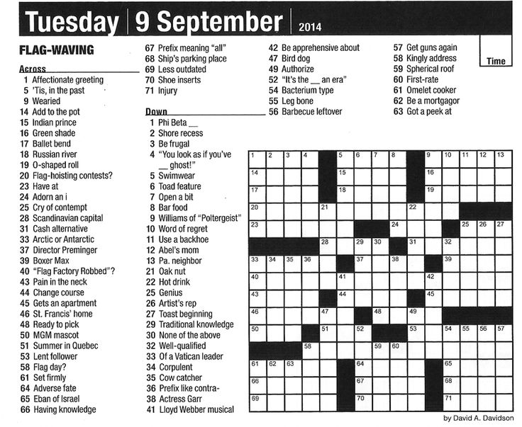 Calendar Pages Crossword : This puzzle is from minute crossword puzzles page a day