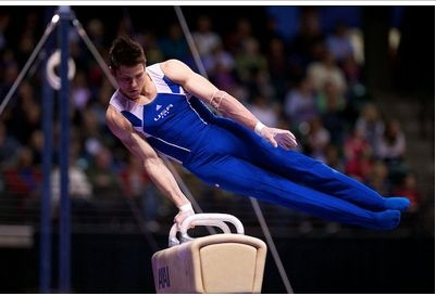 Chris Brooks competes on the pommel horse during event finals at the 2012 Kellogg's Pacific Rim gymnastics meet, where Brooks won silver for Team USA.