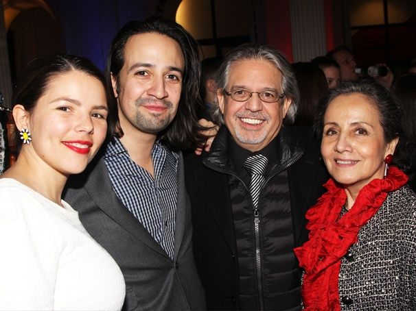 Lin-Manuel Miranda is thrilled to have his wife Vanessa and proud parents by his side on opening night. Broadway Opening - left to right: Vanessa Nadal Miranda, Lin-Manuel Miranda, Luis Miranda and