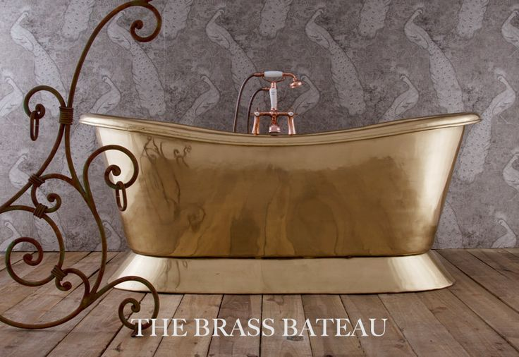 Our stunning brass bateau bath - made from only the finest hand-beaten brass! Perfect for this season where metallics are in! #bathroom #decor #bath #brass #interiordesign