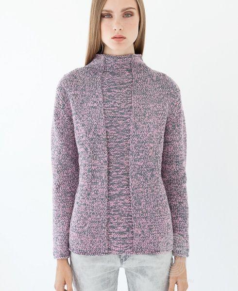 """Люди вяжут: Вяжем: Пуловер. """"Пуловер с воротником """"гольф"""""""" с подробной инструкцией на сайте peopleknit.ru."""