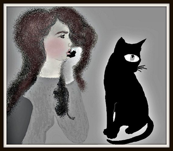 A lonely girl chatting with cat pointillism art style by artfuns