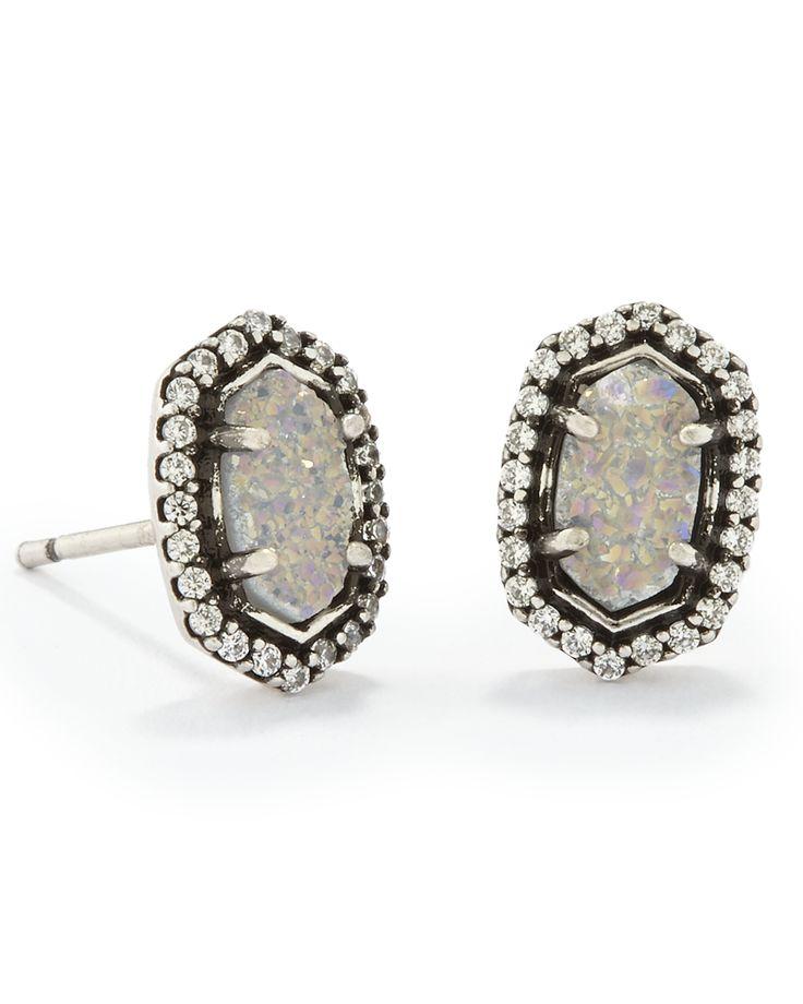 Cade Stud Earrings in Antique Silver - Kendra Scott Jewelry.