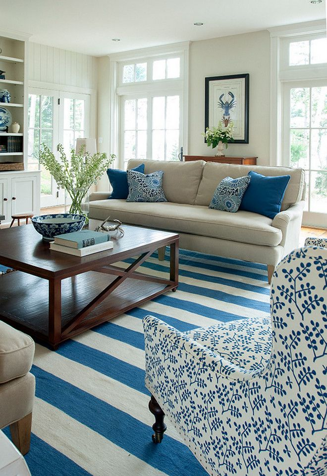 Blue And White Living Room Coastal How To Decorate A Banks Design Associates