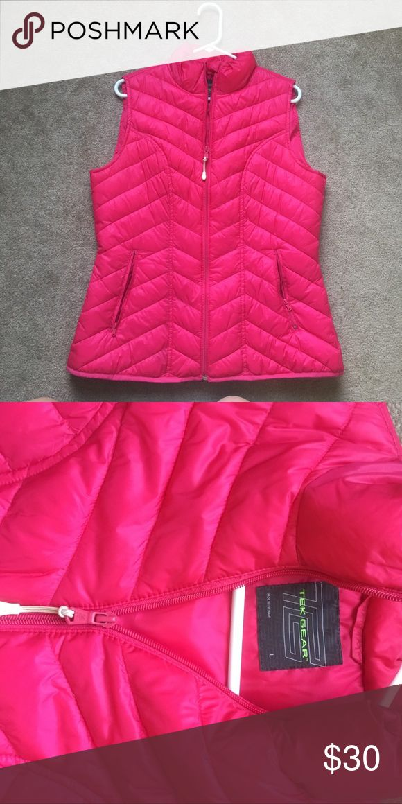 Tek gear hot pink vest Pair it with stripes, solids, anything. Unique, bright, different, cute Jackets & Coats Vests