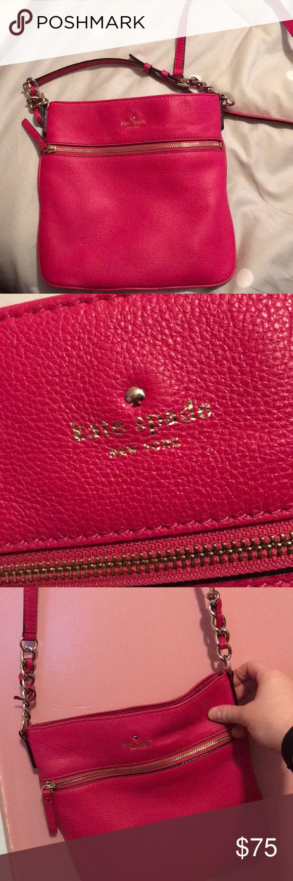 Kate Spade Cross Body Satchel Bright pink Kate Spade Satchel perfect for the upcoming spring season! This bag is used but taken excellent care of with hardly any signs of wear. kate spade Bags Satchels
