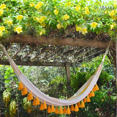 Zanzibar Hammock,  Tassel Hammock, Yellow Hammock, Boho Hammock, Indoor Hammock