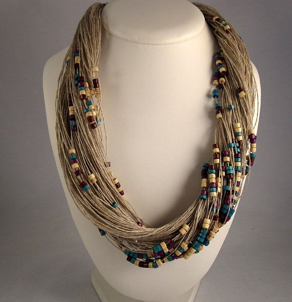 Necklace purple white green natural linen  Wood beads Eco Friendly Mediterranean style Handmade