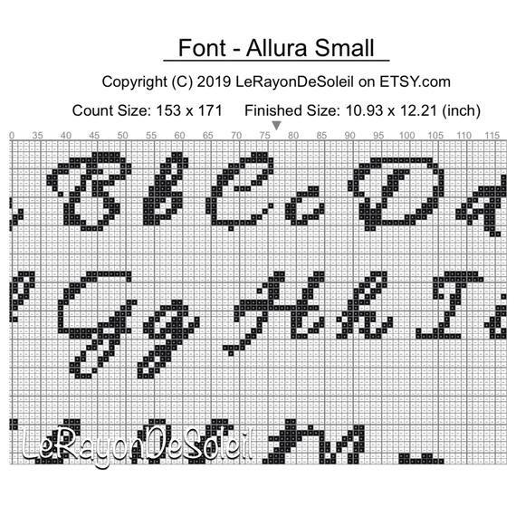 Cross Stitch Alphabet Pattern Allura Set Of 3 Sizes Pdf Instant