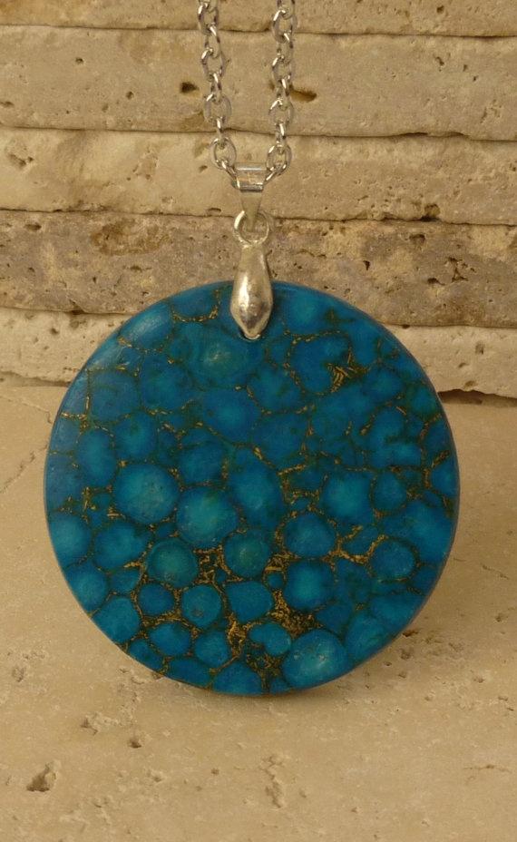 Pressed Turquoise Necklace by ShawlsandtheCity on Etsy, $27.00
