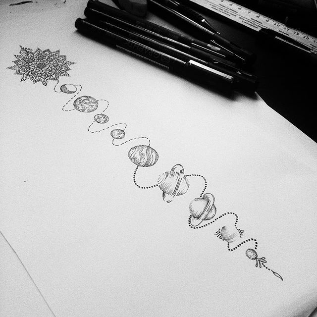 Solar system for Millie  #tattoodesign #dotwork #stippling                                                                                                                                                                                 More