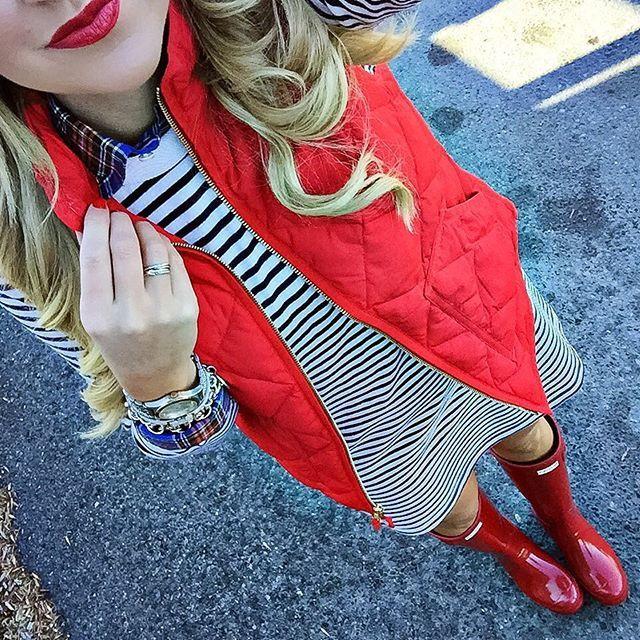 Mixed a plaid shirt under my favorite stripe dress for a festive look! I love layering this.... @liketoknow.it www.liketk.it/21pwc #liketkit