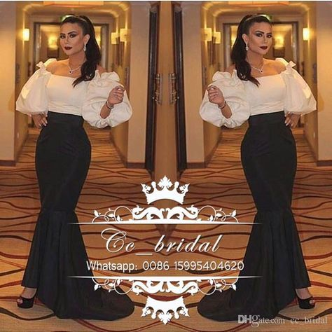 Arabic Mermaid Evening Dresses 2017 with Sleeves Boat Neck Black And White Elegant Long Party Prom Gowns New Plus Size Vestidos De Fiesta Evening Dresses Plus Size Dresses Dresses Evening Wear Online with 120.0/Piece on Cc_bridal's Store   DHgate.com