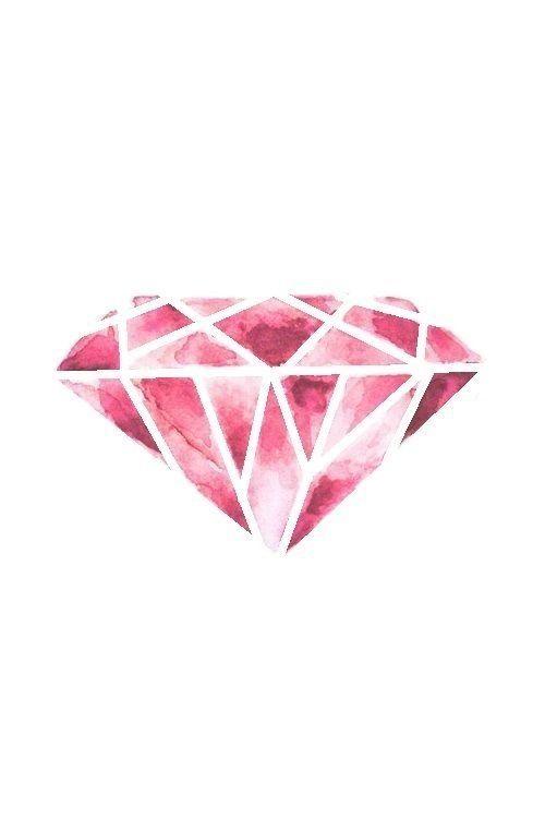 Pink watercolour diamond gem jewel iphone wallpaper background lockscreen