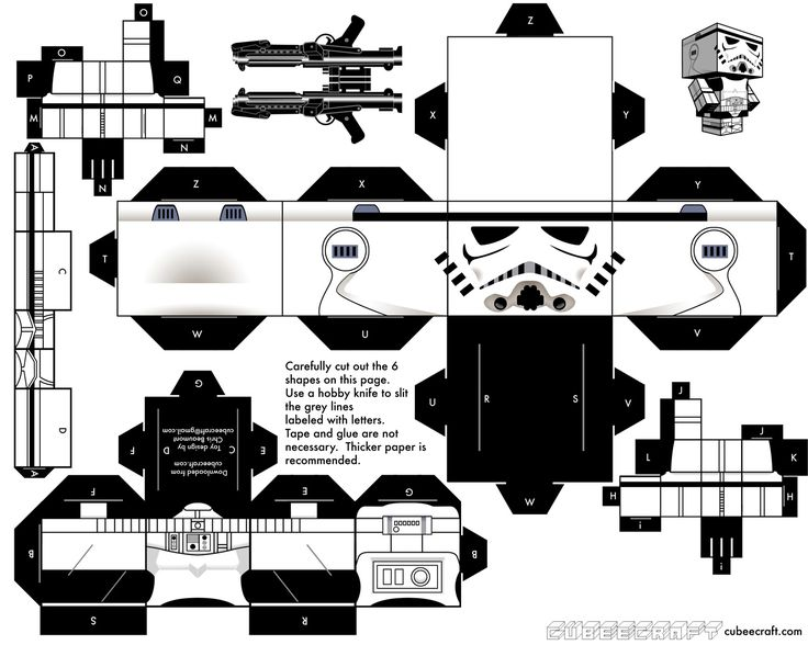 Printable cube Star Wars Stormtrooper.  Just print, cut, assemble and enjoy!