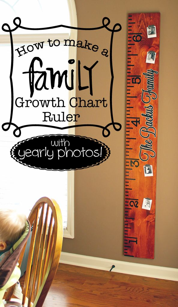 How to make a growth chart ruler for the whole family! Keep everyone's heights recorded on the same life-size ruler and include corresponding pictures!
