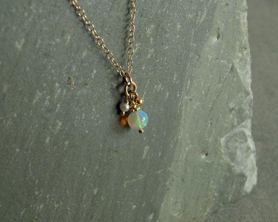 Opal Necklace October stone genuine Ethiopian by bluegreenjewels