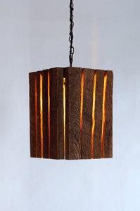 Barnwood lamp. ( good idea, less wood, better shape and add a mason jar with antique bulb.)