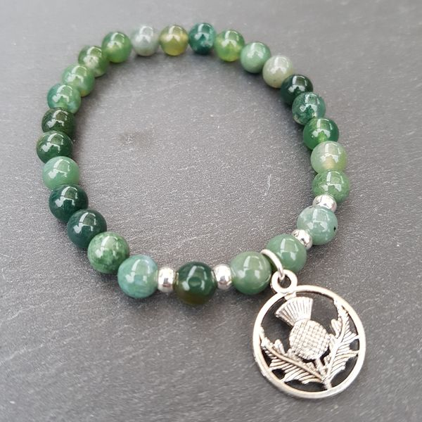 Perlenarmbänder - CLAIRE [Armband Moos Achat mit Distel] - ein Designerstück von Myrna_Lovecraft bei DaWanda