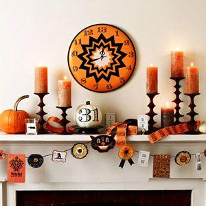 Love the black/orange clock  Twenty Halloween Mantel {and more} Decorating Ideas!