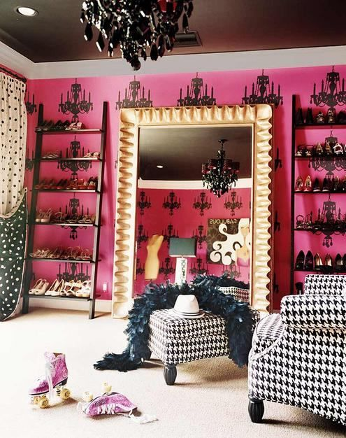 Love the wallpaper - ladder racking for shoes and mirror and then the dogtooth check chair and buffet: Decor, Mirror, Miley Cyrus, Ideas, Dreams Closet, Closets, Dresses Rooms, Shoes Closet, Shoes Racks