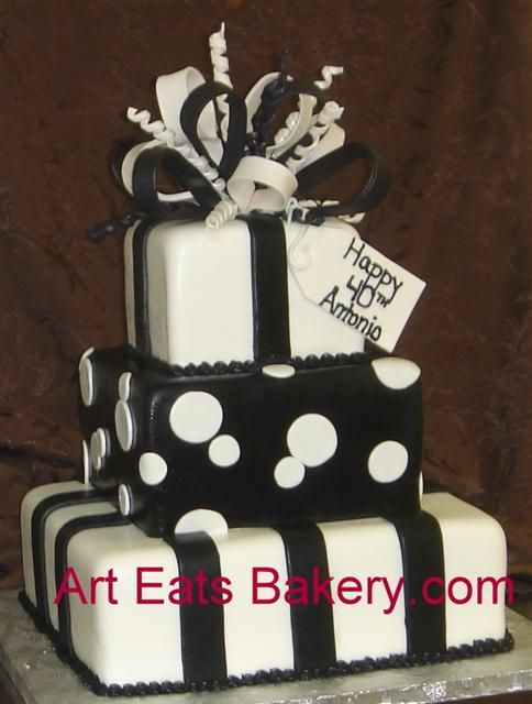 Google Image Result for http://www.arteatsbakery.com/images/Four%2520tier%2520square%2520presents%2520custom%2520black%2520and%2520white%252040th%2520birthday%2520cake%2520with%2520stripes,%2520polka%2520dots%2520and%2520sugar%2520bow.jpg