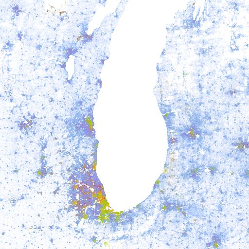 The Racial Dot Map: One Dot Per Person for the Entire U.S. - fascinating Google Map visualizing the geographic distribution, population density, and racial diversity of the USA