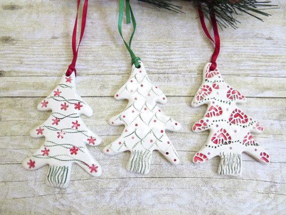Ceramic Christmas Tree Ornament Set of Three Handmade Holiday Decoration