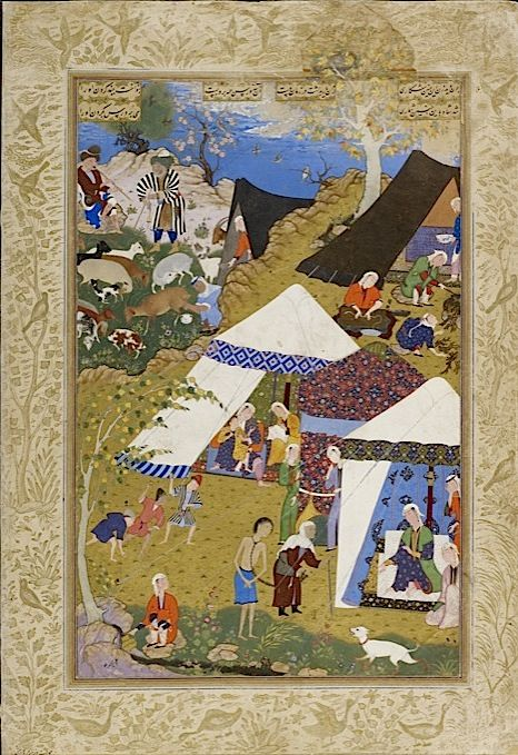 Majnun is brought in chains to Layla's tent. From Nizami's Layla Majnun. Painted by the 16th-century Safavid court artist Mir Sayyid ?Ali (Or.2265, f. 157v) - See more at: http://britishlibrary.typepad.co.uk/asian-and-african/central-asia/page/2/#sthash.xvkYTDru.dpuf